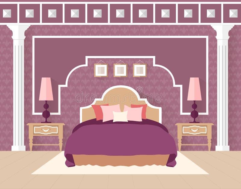 平的样式的卧室在紫色颜色 皇族释放例证