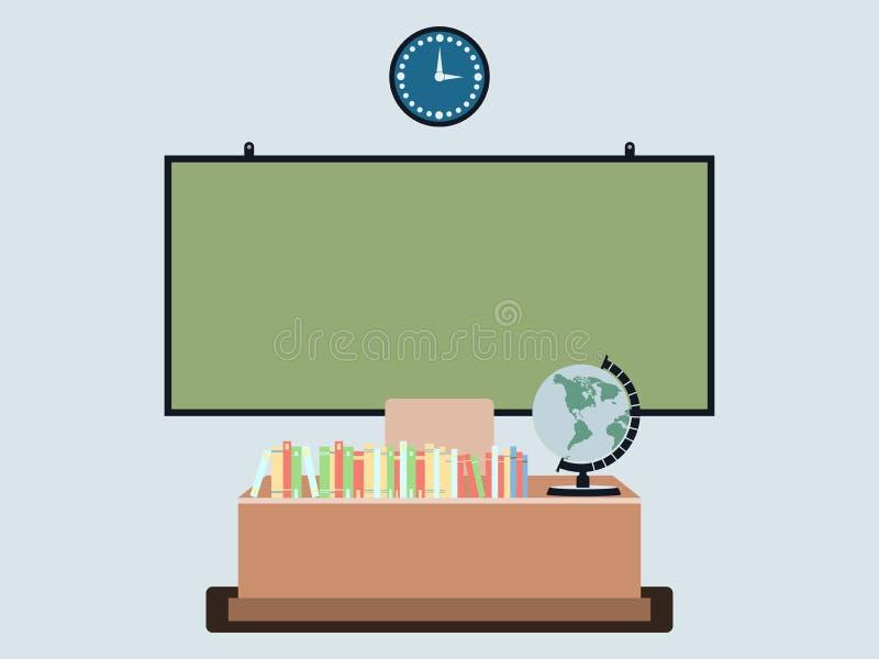 平的样式的学校教室 在墙壁上的校务委员会,在桌上的书 皇族释放例证
