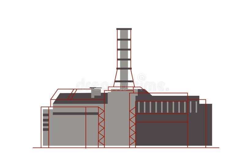 平的样式的核工厂 核能,能量象 免版税库存照片