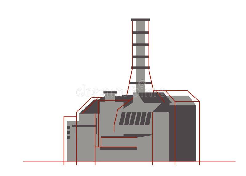 平的样式的核工厂 核能,能量象 图库摄影