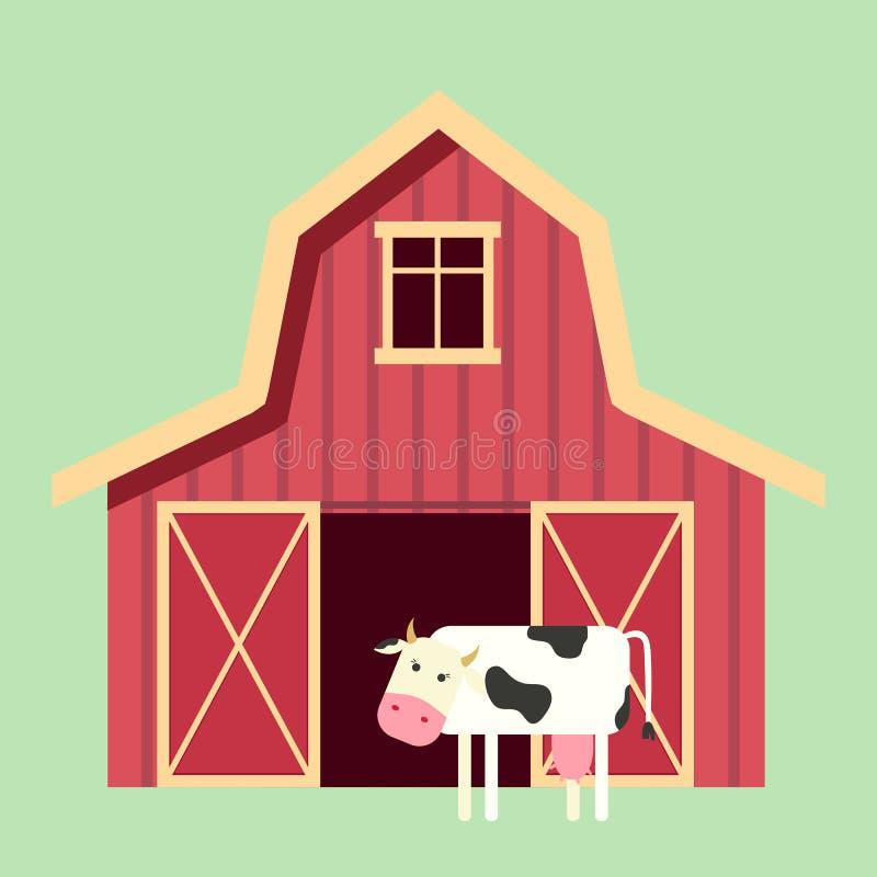 平的样式的红色木农厂谷仓与母牛 家畜或设备的农业大厦 也corel凹道例证向量 库存例证
