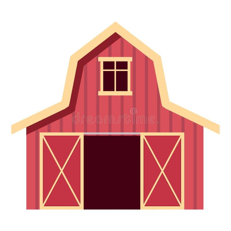 平的样式的红色木农厂谷仓 家畜或设备的农业大厦 也corel凹道例证向量 皇族释放例证
