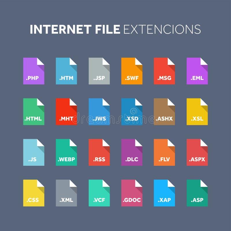 平的样式象集合 原始代码,程序文件类型,引伸 文件格式 图表 网和多媒体 向量例证