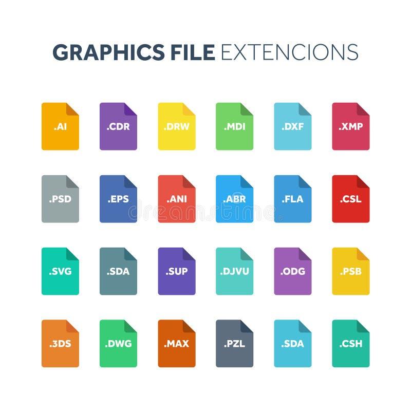 平的样式象集合 系统文件类型extencion 文件格式 图表、网和多媒体 背景计算机查出的膝上型计算机现代技术白色 库存例证