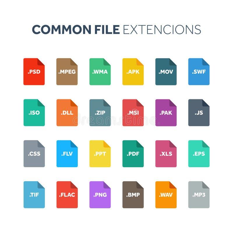 平的样式象集合 系统文件类型extencion 文件格式 图表、网和多媒体 背景计算机查出的膝上型计算机现代技术白色 向量例证