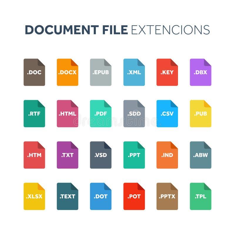 平的样式象集合 系统文件类型extencion 文件格式 图表、网和多媒体 背景计算机查出的膝上型计算机现代技术白色 皇族释放例证