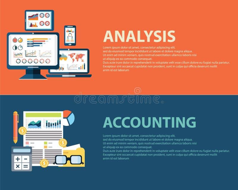 平的样式经营分析infographic概念和会计财务 网被设置的横幅模板 向量例证