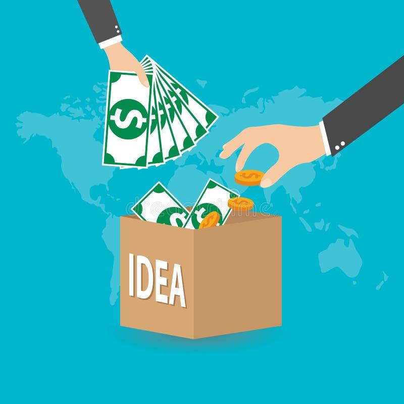 平的样式crowdfunding的概念,资助的项目,传染媒介 向量例证