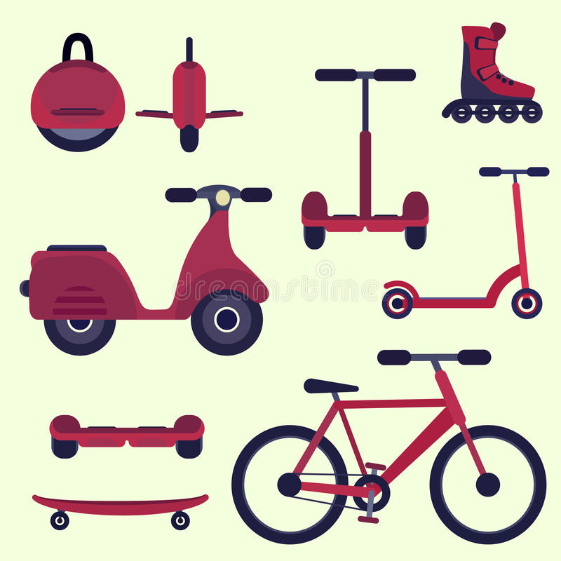 平的桃红色的时尚青年城市运输集合 库存例证