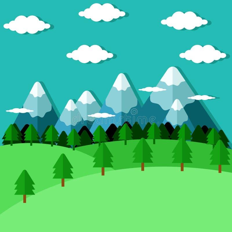 平的森林和山 库存图片