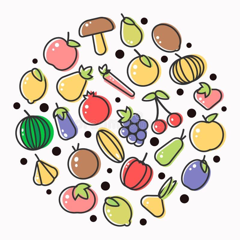 平的概述素食者和莓果象水果和蔬菜海报  向量例证