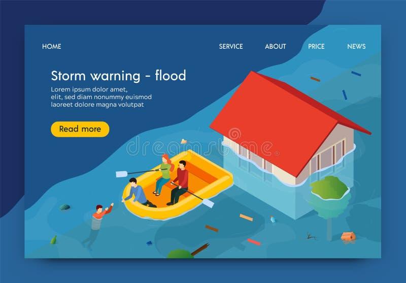平的横幅书面风暴警告的洪水3d 库存例证