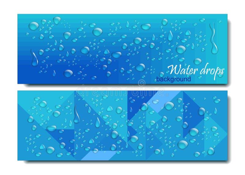 水平的横幅设置与水下落 也corel凹道例证向量 在蓝色背景的现实透明露水 几何 皇族释放例证