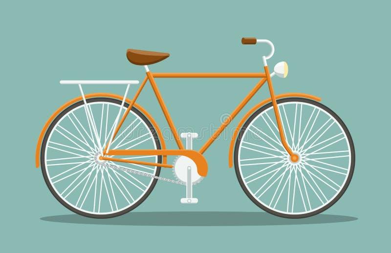 平的橙色自行车 皇族释放例证