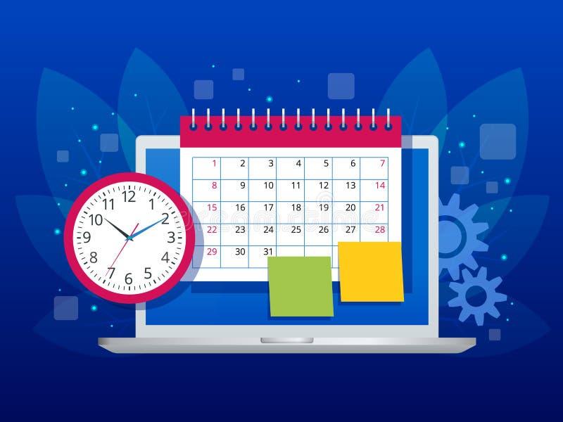 平的每周日程表和日历计划者组织管理 在膝上型计算机企业工作流,时间的网上应用程序 皇族释放例证