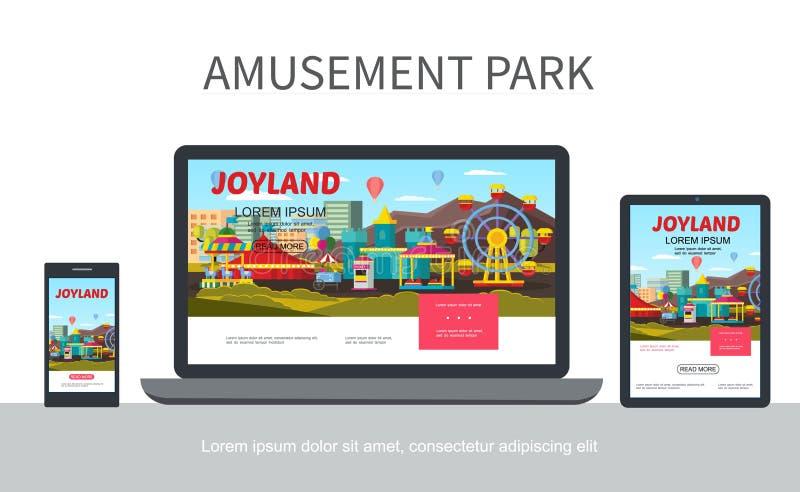 平的游乐园能适应的设计观念 向量例证