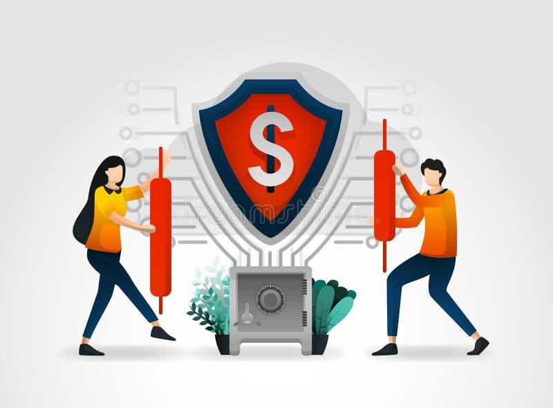 平的漫画人物 盾保障财务数据和顾客交易数据库的银行 银行业务提供专业 皇族释放例证