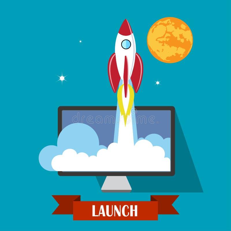 平的火箭象 新的企业项目和发射的概念 向量例证