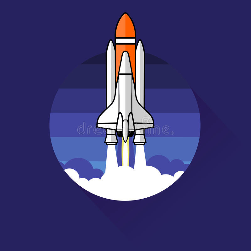 平的火箭象 新的企业项目和发射的概念 皇族释放例证