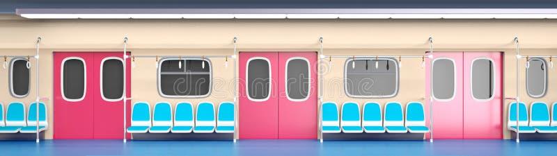 平的火车内部 库存例证