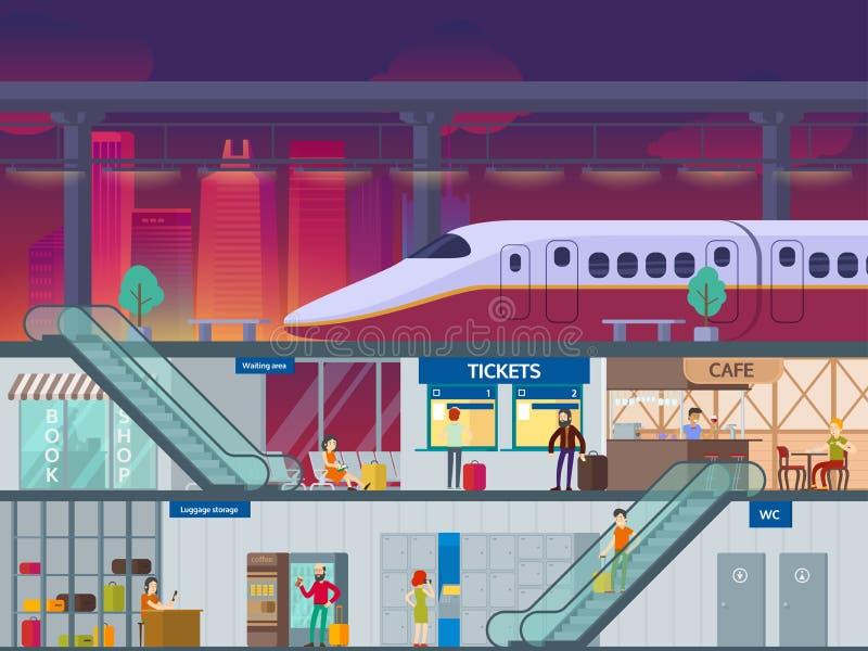 平的火车站夜间概念 向量例证