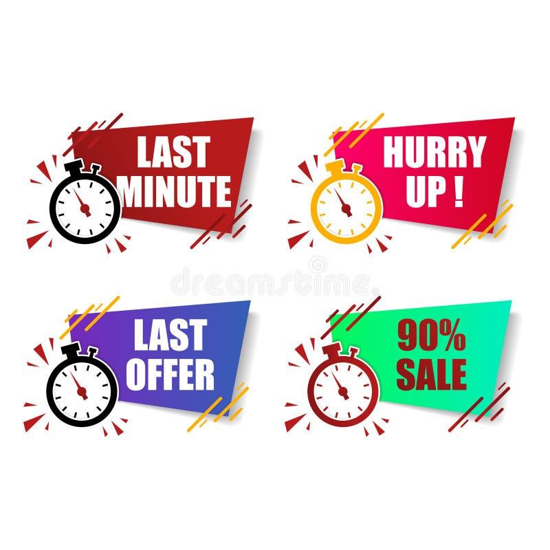 平的现代五颜六色的最后一刻的提议,赶紧,销售按钮标志和标签,闹钟读秒定时器 库存例证
