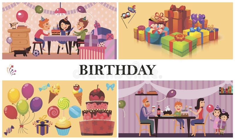 平的生日宴会概念 皇族释放例证