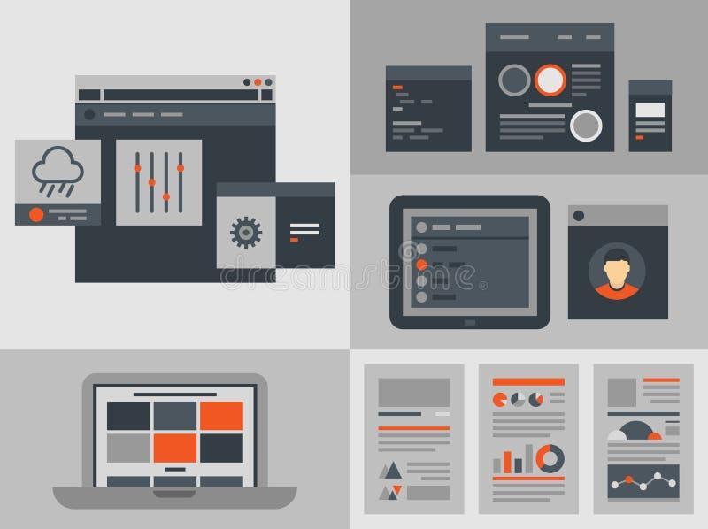 平的用户界面设计元素 向量例证