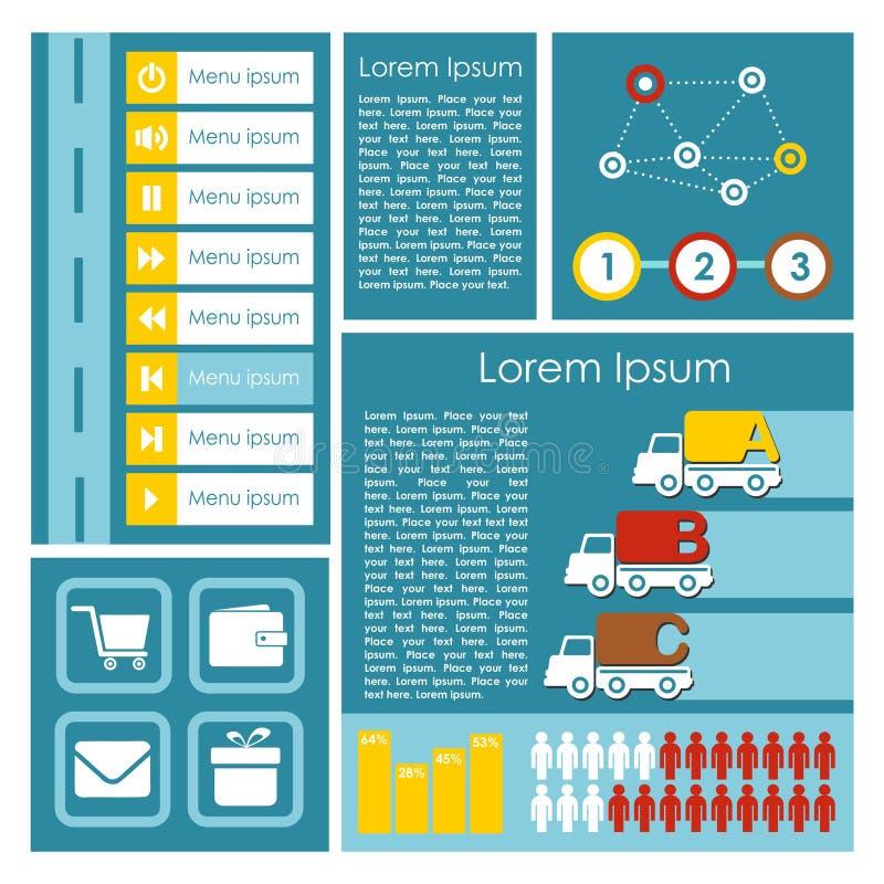 平的用户界面UI infographics模板,例证元素,现代背景, 向量例证