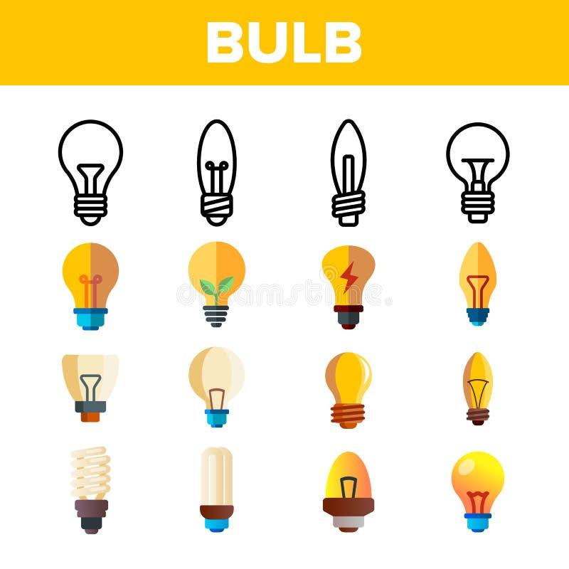 平的电灯泡和线性象传染媒介集合 皇族释放例证