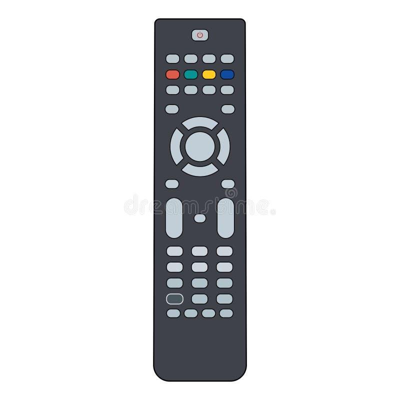平的电视遥控 查出在白色 库存例证