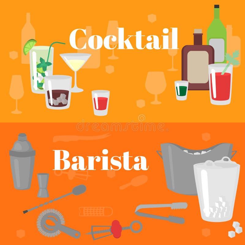 平的男服务员工具 侍酒者设备 仪器象 平的经典酒精鸡尾酒 库存例证