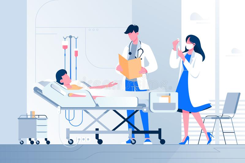 平的病的年轻人说谎与近吸管与医生和护士在医院 向量例证