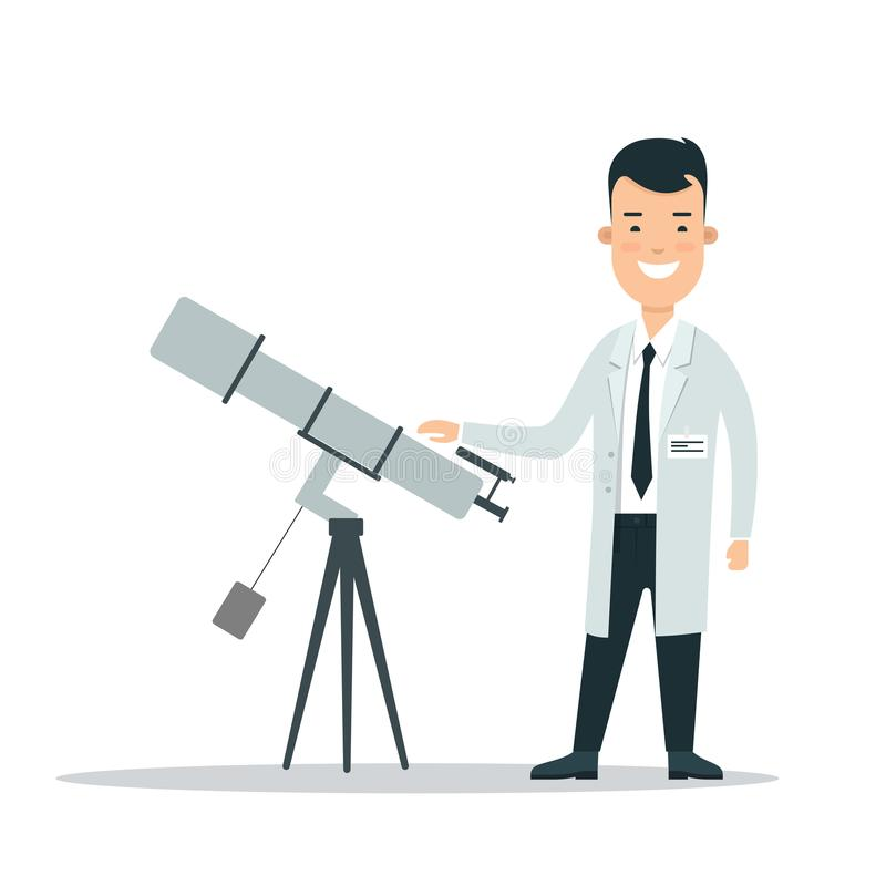 平的科学家望远镜例证 Astr 皇族释放例证