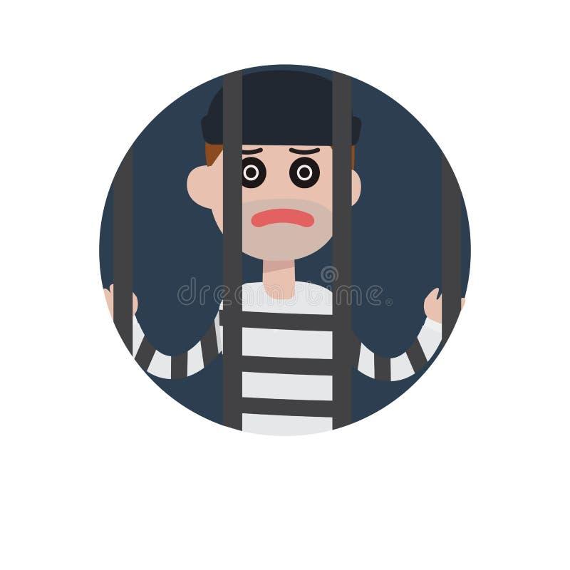 平的窃贼人字符在监狱 库存例证