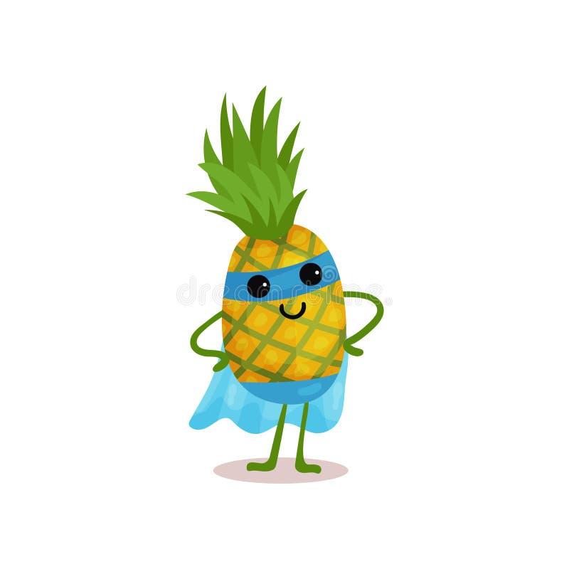 平的站立与胳膊的动画片微笑的超级英雄菠萝两手插腰在蓝色面具和海角 库存例证