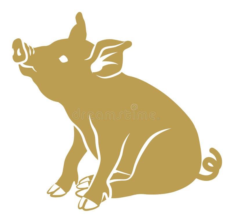 平的符号猪-金黄颜色,坐 皇族释放例证