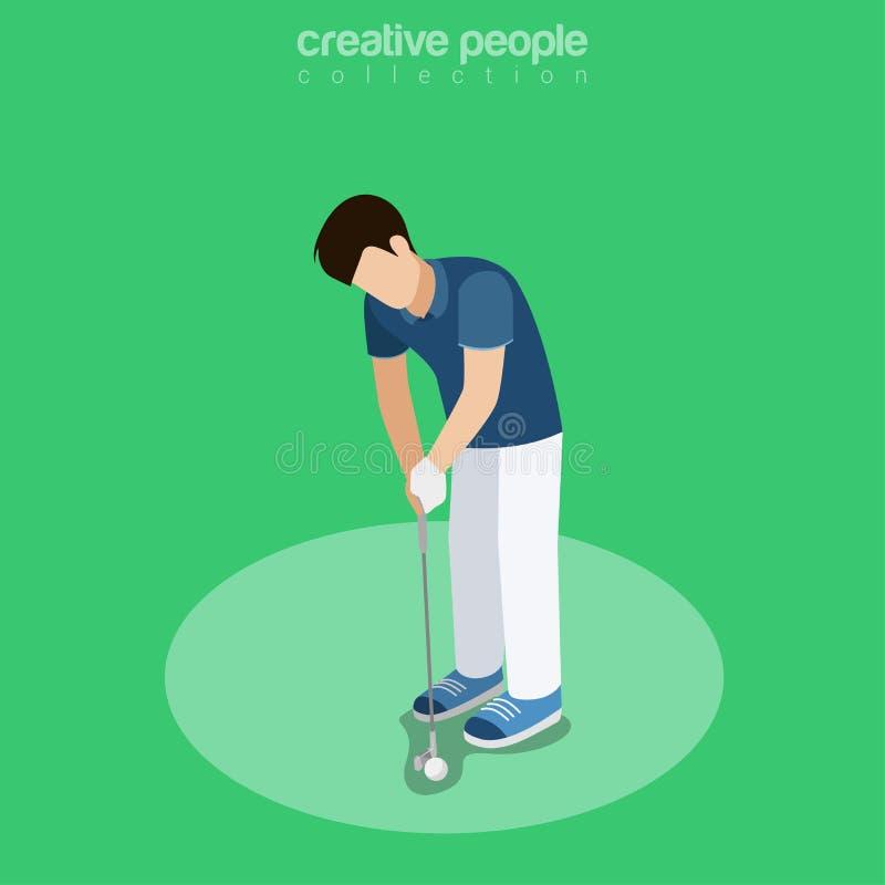 平的等量高尔夫球运动员冲程传染媒介 库存例证