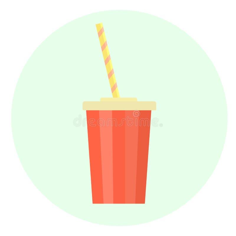 平的红色有秸杆的传染媒介塑料杯子饮料象的 向量例证