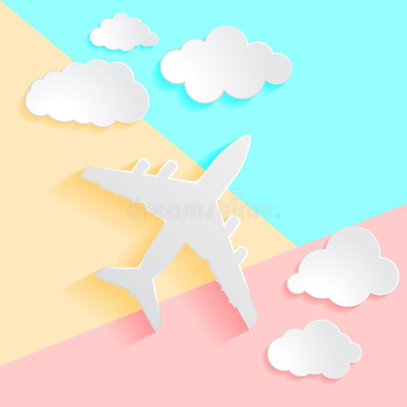 平的纸飞机的位置艺术设计图表图象有云彩的 库存例证