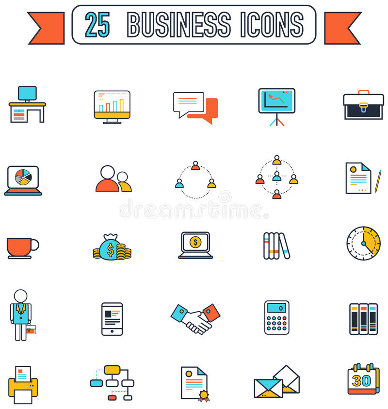 平的线事务和办公室用工具加工设备标志和标志 库存例证