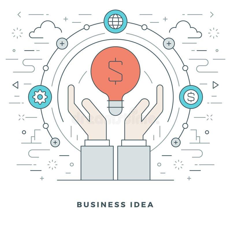 平的线企业创造性的想法手和灯 也corel凹道例证向量 现代稀薄的线性冲程传染媒介象 向量例证