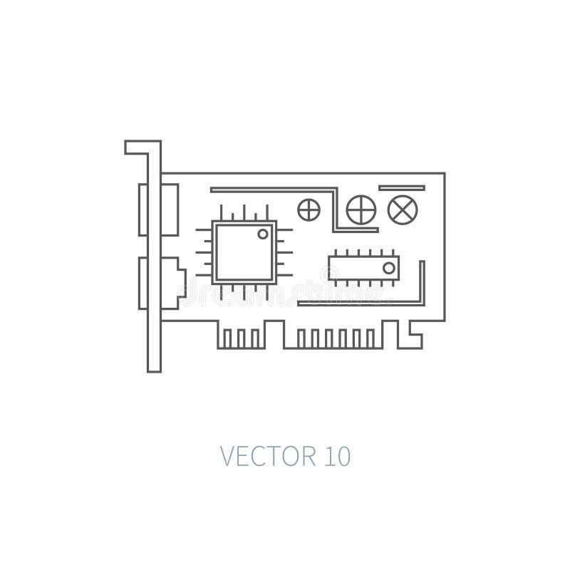 平的线向量计算机零件象-显示卡 动画片样式 例证和元素您的设计的 简单 向量例证
