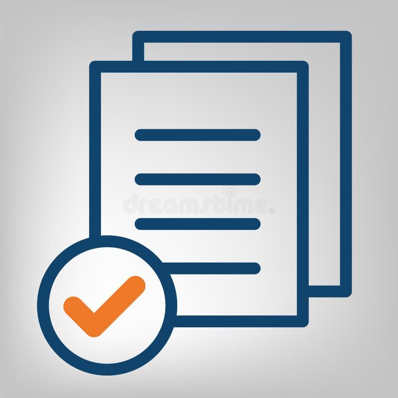 平的线完成的象 质量管理概念 在灰色背景的简明蓝色和橙色线 被隔绝的传染媒介对象 库存例证