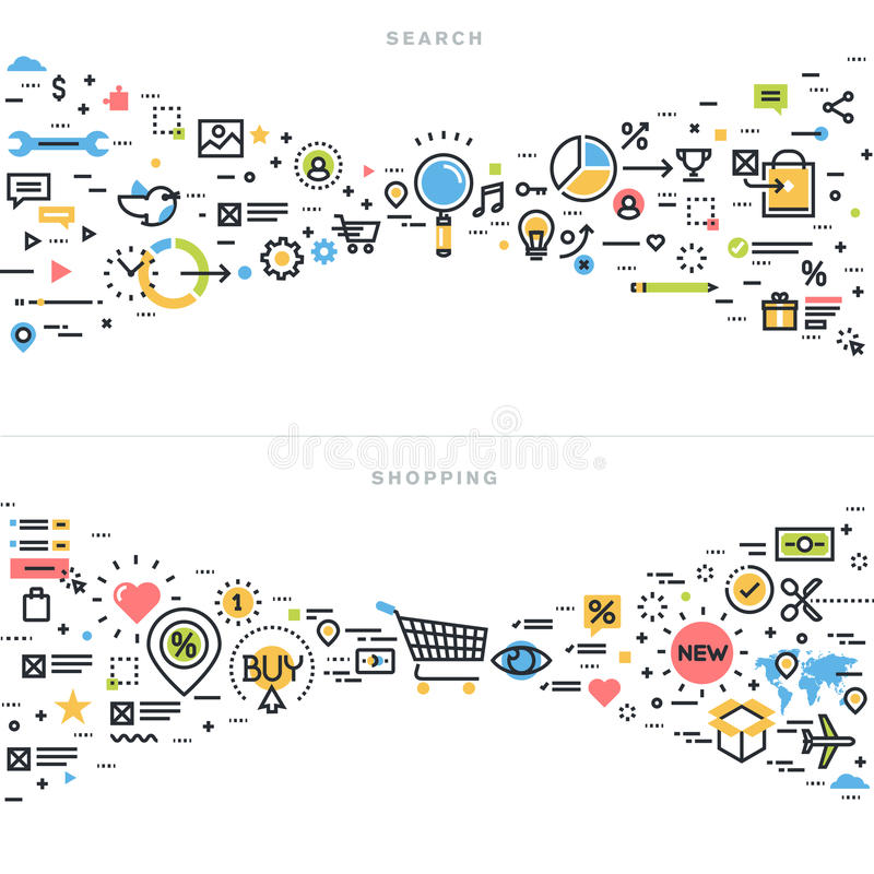 平的线查寻和购物的设计观念 向量例证