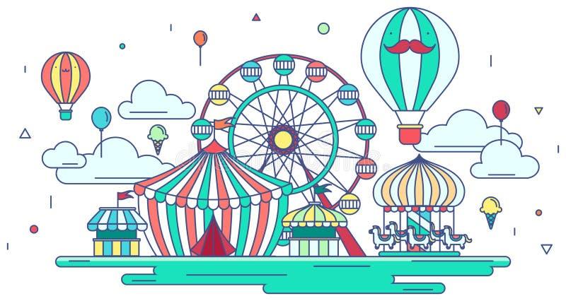 平的线游乐园或主题乐园图形设计 库存例证