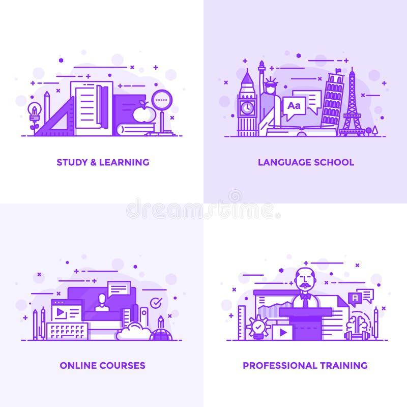 平的线紫色设计观念6 向量例证