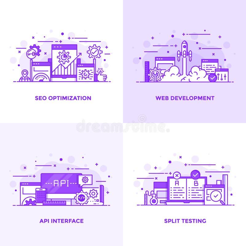 平的线紫色设计观念13 向量例证