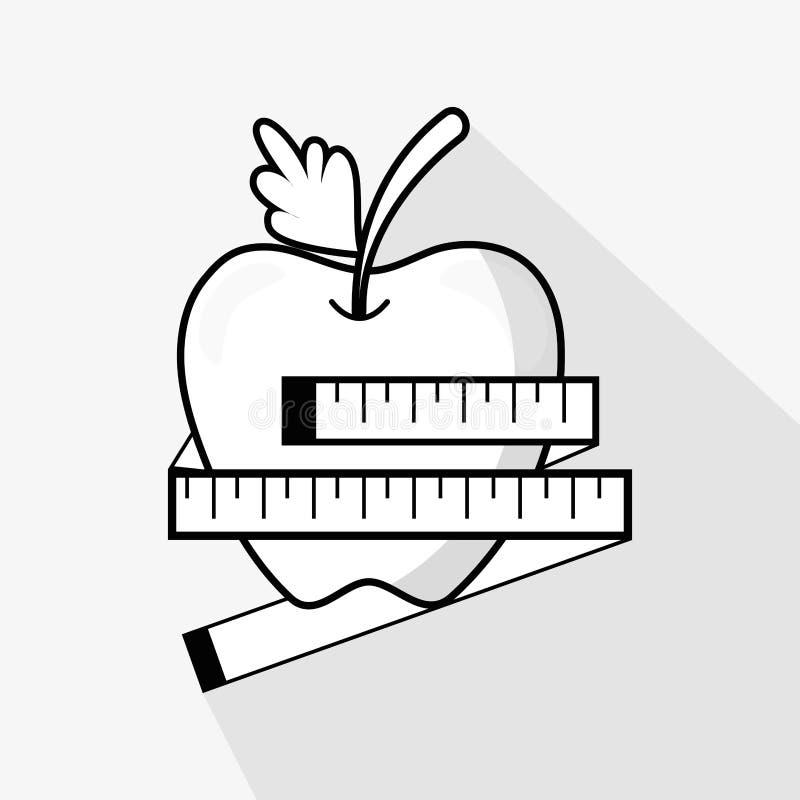 平的线美味苹果果子和米 库存例证