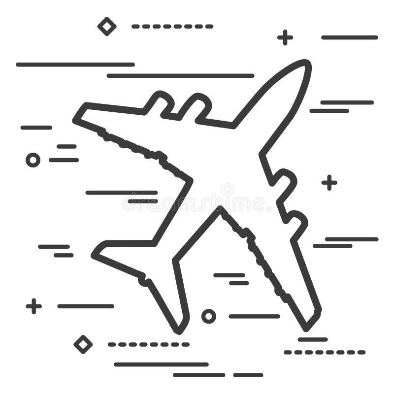 平的线艺术飞机象的设计图表图象概念wh 库存例证